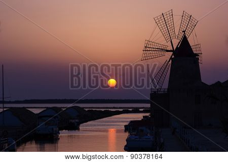 Windmill At Sunset Pink