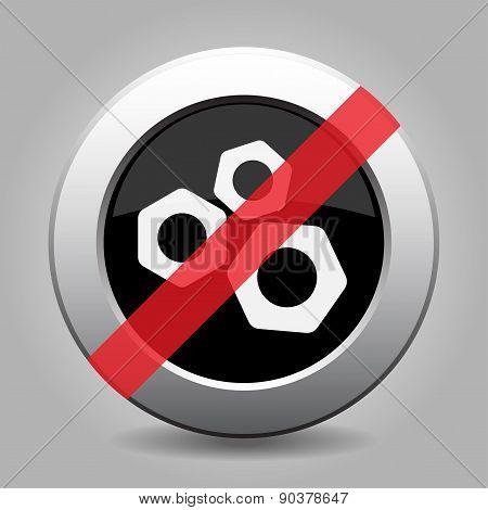 Gray Chrome Button - No Nuts
