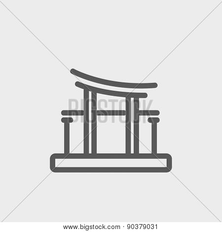 Famous gate icon thin line for web and mobile, modern minimalistic flat design. Vector dark grey icon on light grey background.