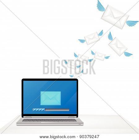 Laptop sending e-mail