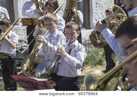 Mstyora,Russia-May 9,2015: Children play on music instrument