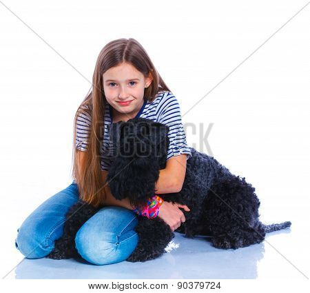 Girl with his Kerry Blue Terrier