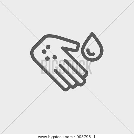 Wash the wound with water icon thin line for web and mobile, modern minimalistic flat design. Vector dark grey icon on light grey background.