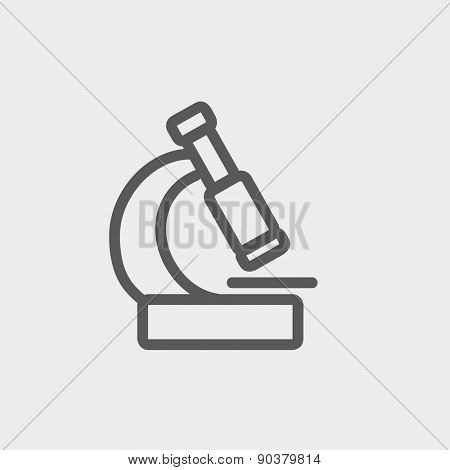 Microscope icon thin line for web and mobile, modern minimalistic flat design. Vector dark grey icon on light grey background.