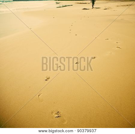 Footprints on beach - retro style background