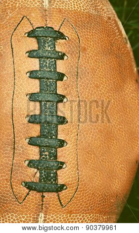 Close up of an american football - retro style