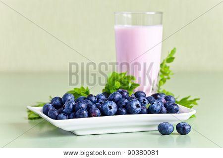 Blueberry Yogurt And Ripe Berries