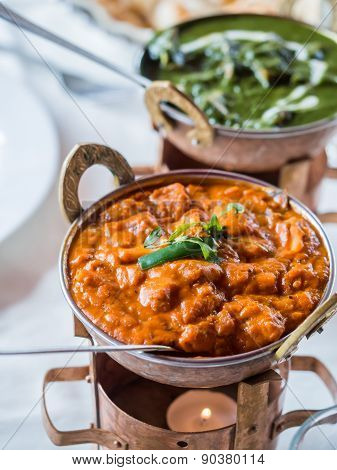 Prawn curry and palak paneer