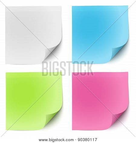 Sticky Notes White, Green, Pink And Blue