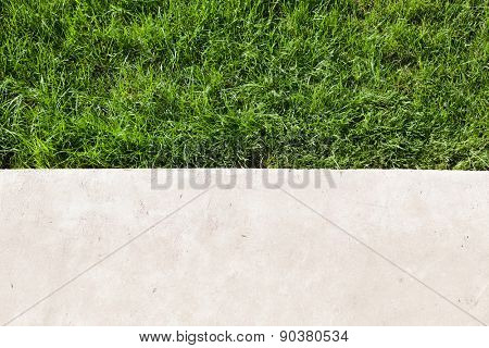 Green lawn and concrete