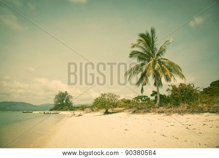 Beautiful tropical beach, Thailand - retro style postcard