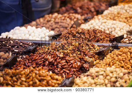 Nuts and almonds for sale at the Boqueria market in Barcelona