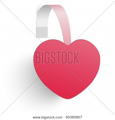 Advertising Wobbler Looking As A Red Heart Isolated On White Background