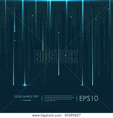 Abstract technology background. Vector binary code