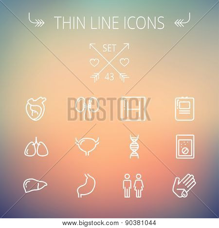 Medicine thin line icon set for web and mobile. Set includes-human internal organs, hospital, DNA icons. Modern minimalistic flat design. Vector white icon on gradient mesh background.