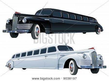 Vector long vintage limo