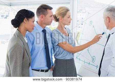 Businesswoman drawing graph on the whiteboard in the office