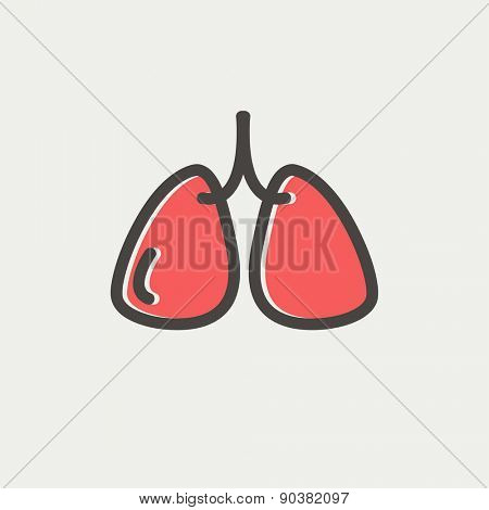 Lungs icon thin line for web and mobile, modern minimalistic flat design. Vector icon with dark grey outline and offset colour on light grey background.