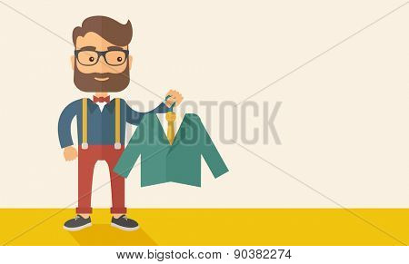 A happy young man chooses a perfect clothe to buy for him to wear. A Contemporary style with pastel palette, soft beige tinted background. Vector flat design illustration. Horizontal layout with text