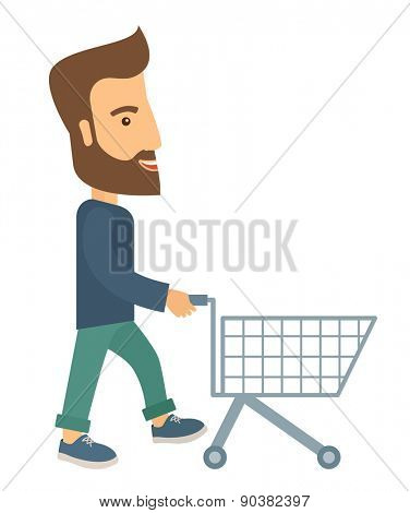A handsome guy pushing an empty cart. A contemporary style. Vector flat design illustration with isolated white background. Vertical layout