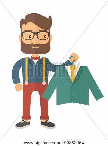 A happy young man chooses a perfect clothe to buy for him to wear. A contemporary style. Vector flat design illustration with isolated white background. Vertical layout.
