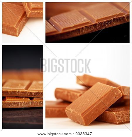 Two pieces of milk chocolate against chocolate pieces piled together