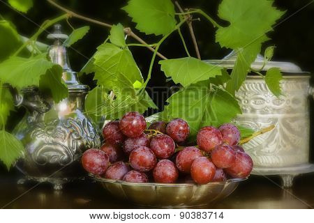 Red Grapes On Arabian Table