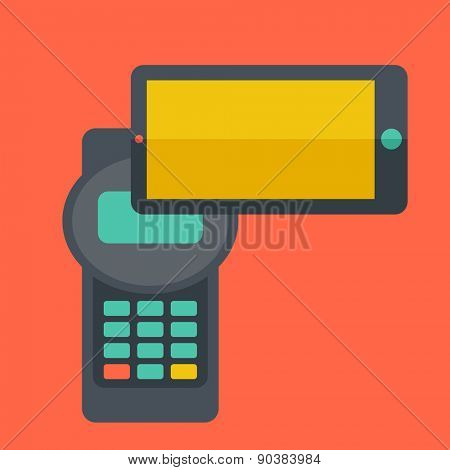 A credit card machine and smartphone as use for internet shopping. A Contemporary style with pastel palette, soft orange tinted background. Vector flat design illustrations. Square layout with text
