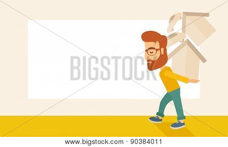 A sad man carrying house and car as his loan or debt from the bank.  A Contemporary style with pastel palette, soft beige tinted background. Vector flat design illustration. Horizontal layout with