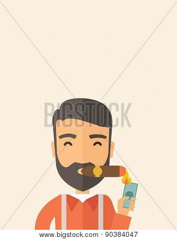 A hipster smiling businessman lighting the cigar tobacco to release pressure from work. Successful business concept.  A Contemporary style with pastel palette, soft beige tinted background. Vector