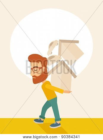 A sad man carrying house and car as his loan or debt from the bank.  A Contemporary style with pastel palette, soft beige tinted background. Vector flat design illustration. Vertical layout with text