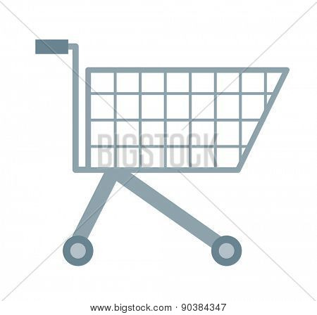 An empty supermarket cart. A Contemporary style with pastel palette, soft orange tinted background. Vector flat design illustrations. Horizontal layout with text space in right side.