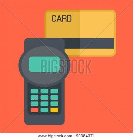 A credit crad Contemporary style with pastel palette, soft orange tinted background. Vector flat design illustrations. Square layout with text space in right side
