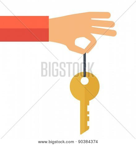 A hand holding a key. A contemporary style. Vector flat design illustration with isolated white background. square layout