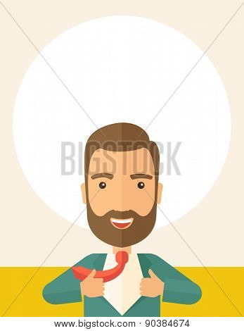 A working man want to change his clothes as to change his position in the company. Successful concept. A Contemporary style with pastel palette, soft beige tinted background. Vector flat design