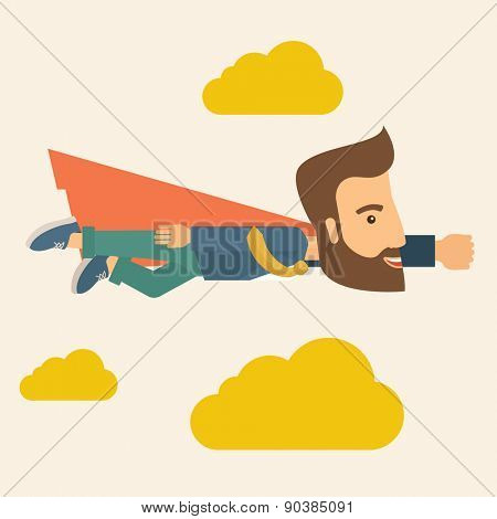 A super businessman flying high to achieve his goal. Leadership concept. A Contemporary style with pastel palette, soft beige tinted background and yellow clouds. Vector flat design illustration