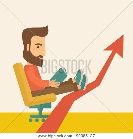 A Caucasian sitting, relaxing in increasing business.  Progress business concept. A Contemporary style with pastel palette, soft beige tinted background. Vector flat design illustration. Square layout