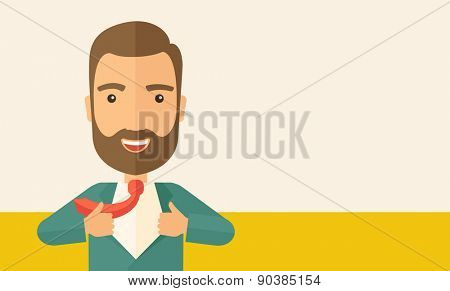 A working man want to change his clothes as to change his positon in the company. Successful concept. A Contemporary style with pastel palette, soft beige tinted background. Vector flat design