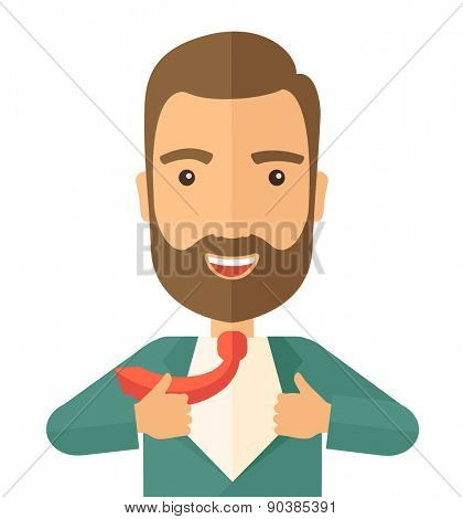 A working man want to change his clothes as to change his position in the company. Successful concept. A Contemporary style. Vector flat design illustration isolated white background. Square layout
