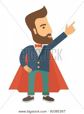 Superhero man pointing upward aiming higher sales in business. Business growth. A Contemporary style. Vector flat design illustration isolated white background. Vertical layout.