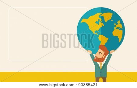 A businessman carrying big globe it is a symbol that he is number one in the world in business society. A Contemporary style with pastel palette, soft beige tinted background. Vector flat design