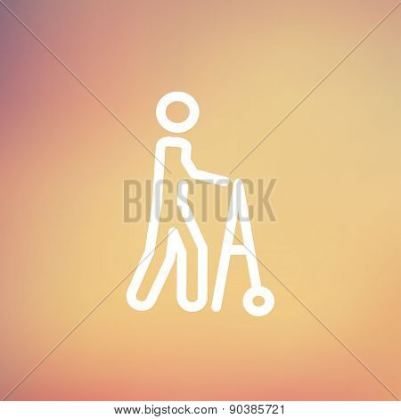 Disabled person with walker icon thin line for web and mobile, modern minimalistic flat design. Vector white icon on gradient mesh background.