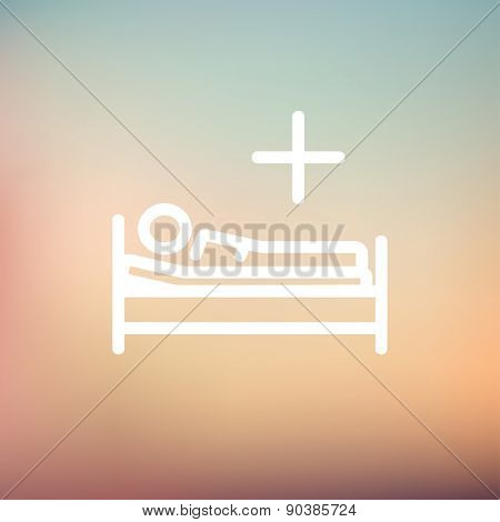 Medical bed with patient icon thin line for web and mobile, modern minimalistic flat design. Vector white icon on gradient mesh background.