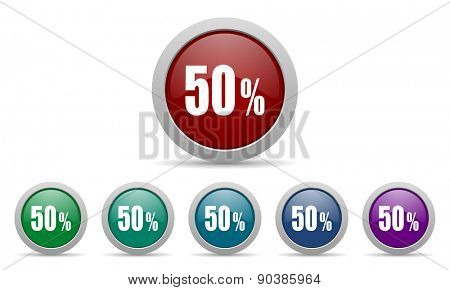 50 percent icon sale sign
