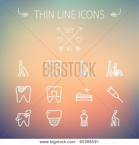 Medicine thin line icon set for web and mobile. Set includes- tooth, crutches, walker, injured person, sick person icons. Modern minimalistic flat design. Vector white icon on gradient mesh background