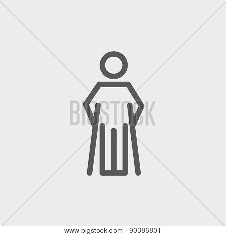 Injured man with crutches icon thin line for web and mobile, modern minimalistic flat design. Vector dark grey icon on light grey background.