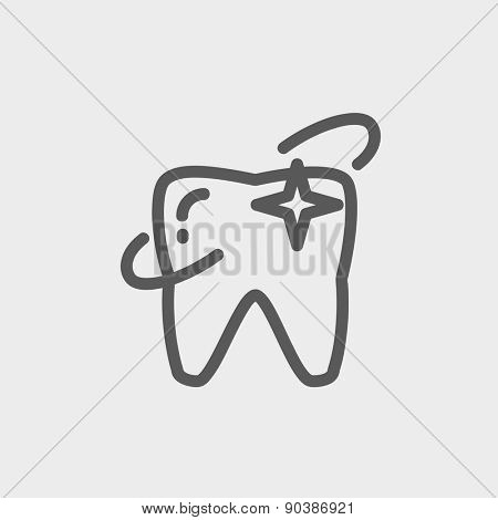 Shining tooth icon thin line for web and mobile, modern minimalistic flat design. Vector dark grey icon on light grey background.