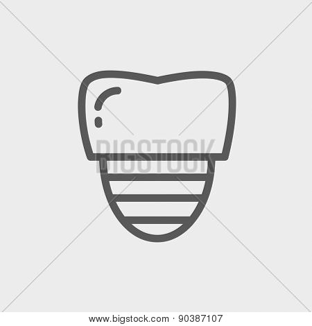 Tooth implant icon thin line for web and mobile, modern minimalistic flat design. Vector dark grey icon on light grey background.