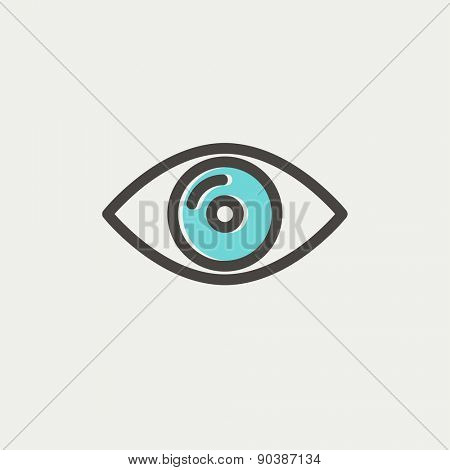 Eye icon thin line for web and mobile, modern minimalistic flat design. Vector icon with dark grey outline and offset colour on light grey background.