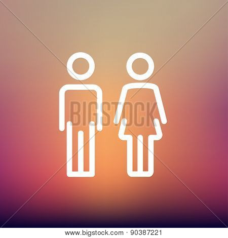 Male and female icon thin line for web and mobile, modern minimalistic flat design. Vector white icon on gradient mesh background.